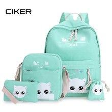Ciker Мода в консервативном стиле парусиновые женские рюкзаки для девочек-подростков Mochilas Рюкзак 4 шт./компл. сумка милый кот Школьные сумки