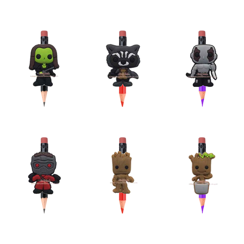 6pcs cartoon super hero Guardians of the Galaxy pencil topper caps For School Supplies Stationery party favors gifts pencil grip