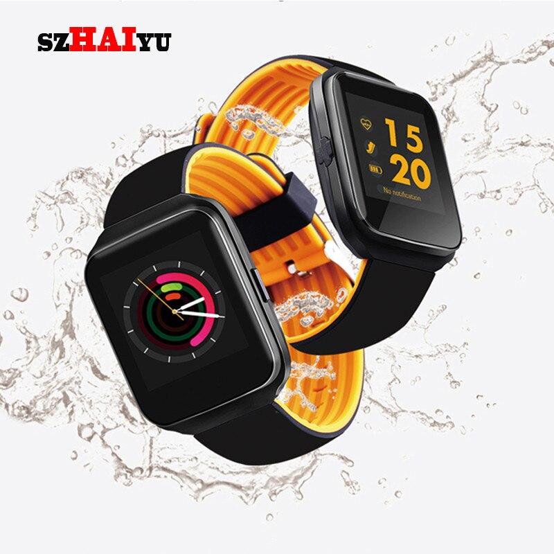 5981fdfc470 SZHAIYU menMessage Smartwatch Bluetooth Relógio Inteligente Monitor de  Pressão Arterial e Freqüência Cardíaca Lembrete Relógio À Prova D  Água  Android IOS ...