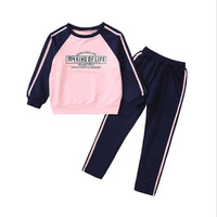 Girls Tracksuits Cotton Spring Autumn Sportswear Outfits Girls Sports Suits Letter Printed Kids Clothing Sets for 4 12Year
