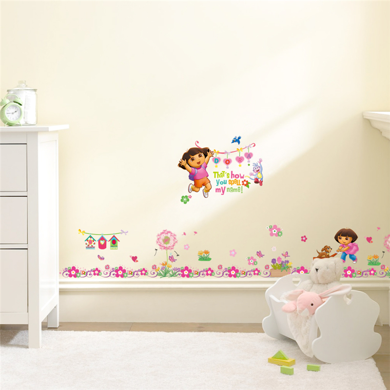 Dora The Explorer Flowers Wall Stickers Kids Room Baseboard Decoration  Cartoon Nursery Mural Art Home Decals