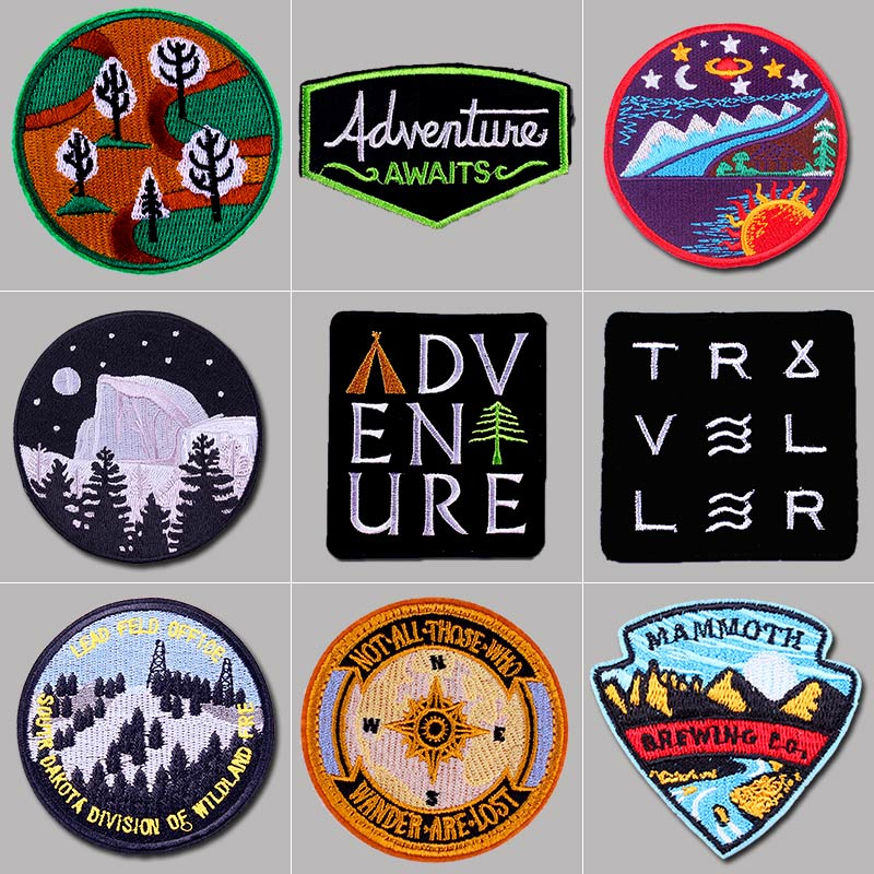 Pulaqi Mountain Travel Patch Embroidery Patches Iron On For Clothing Explore Nature Traveling Cloth decor parche ropa