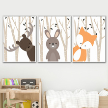 Cartoon Deer Rabbit Fox Forest Wall Art Canvas Painting Nordic Posters And Prints Nursery Art Wall Pictures Kids Room Baby Decor цена и фото