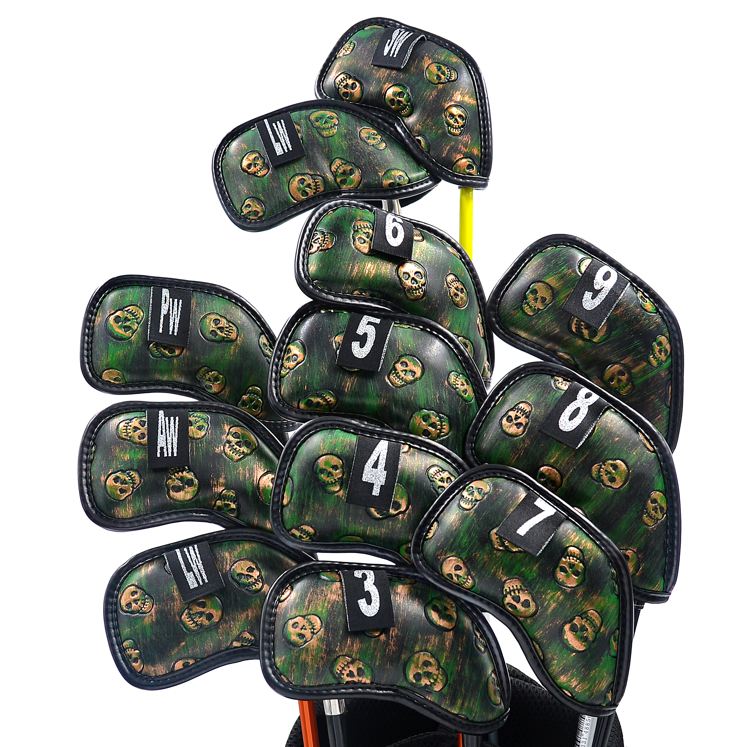 NEW Original Champkey Monster Skull Golf Iron Head Cover Pack of 12pcs(3~9,A,P,S,L,L)- Black Green Color Headcover