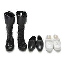 3 Pairs Dolls Cusp Shoes Sneakers Knee High Boots Black White For Doll Boyfriend Ken Fashion Children Dolls Accessories(China)