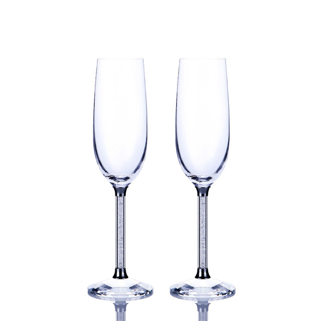 Perfect 2pcs Crystalline Wedding Glass Champagne Flutes Luxury Party Wine Glasses  Goblet Crystal Rhinestones Design H10050.