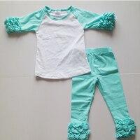 春服ドレス女の子のための卸売服衣装セット空白フリルアイシングtシャツセットアクアブルーレギンスための女の子