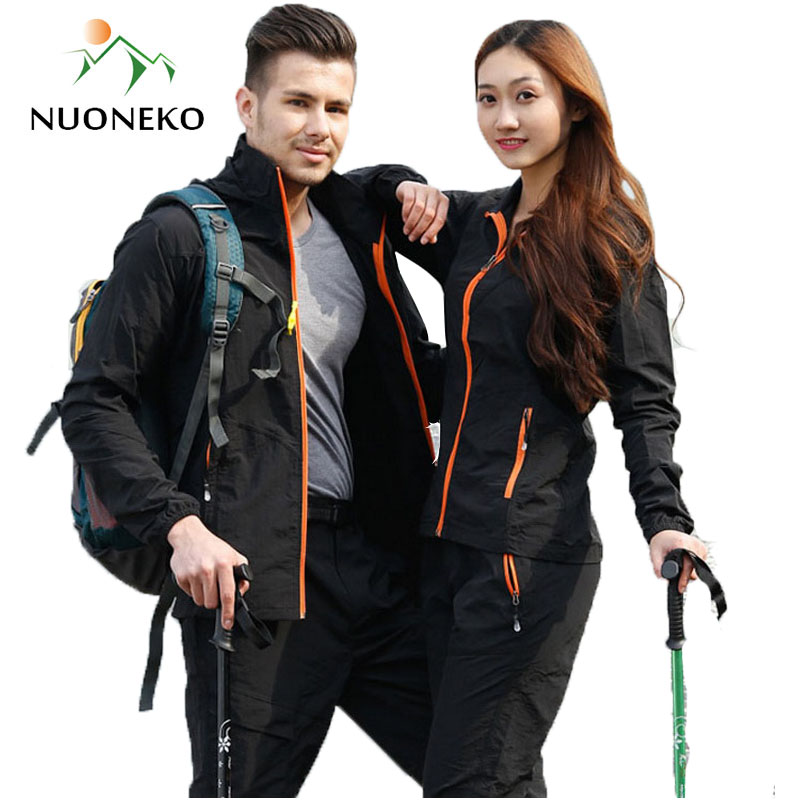 Camping Hiking Clothing Set Outdoor Sport Men Women Summer Sportswear Suit Hooded Jackets Pants Quick Dry Breathable Set ST01(China)