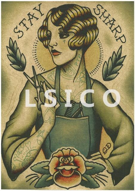 exquis de coiffure tatouages  u00c0 motifs r u00e9tro kraft papier affiches wall sticker art moderne