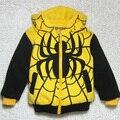 Новый детская свободного покроя мультфильм человек паук пальто плюс бархат зима толстые стиль капюшоном толстовка желтый хлопка-ватник