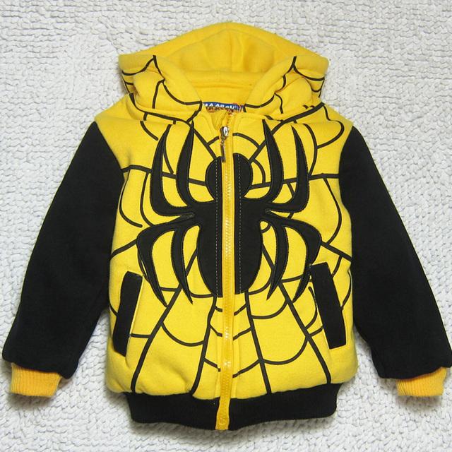 Nuevos niños de dibujos animados ocasional capa del hombre araña , además de terciopelo invierno hoodies estilo gruesa sudadera bebé chaqueta amarilla de algodón acolchado