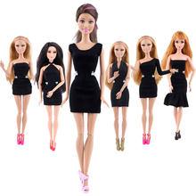 166e99bb306 (Только платье) сексуальное черное Кукольное платье благородвечерние  вечернее платье для куклы Барби модный дизайнерский