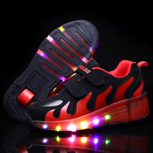 Kids Shoes with LED Children Roller Skate Sneakers Heelys Wheels Glowing Led Light Up for Boys Girls Zapatillas Con Ruedas(China)