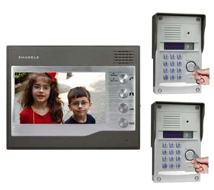 ZHUDELE Security Intercom System For 2 Doors 7Video Door Phone+2XHD FRID Panel Camera w/t Password&ID Card Unlocking Function