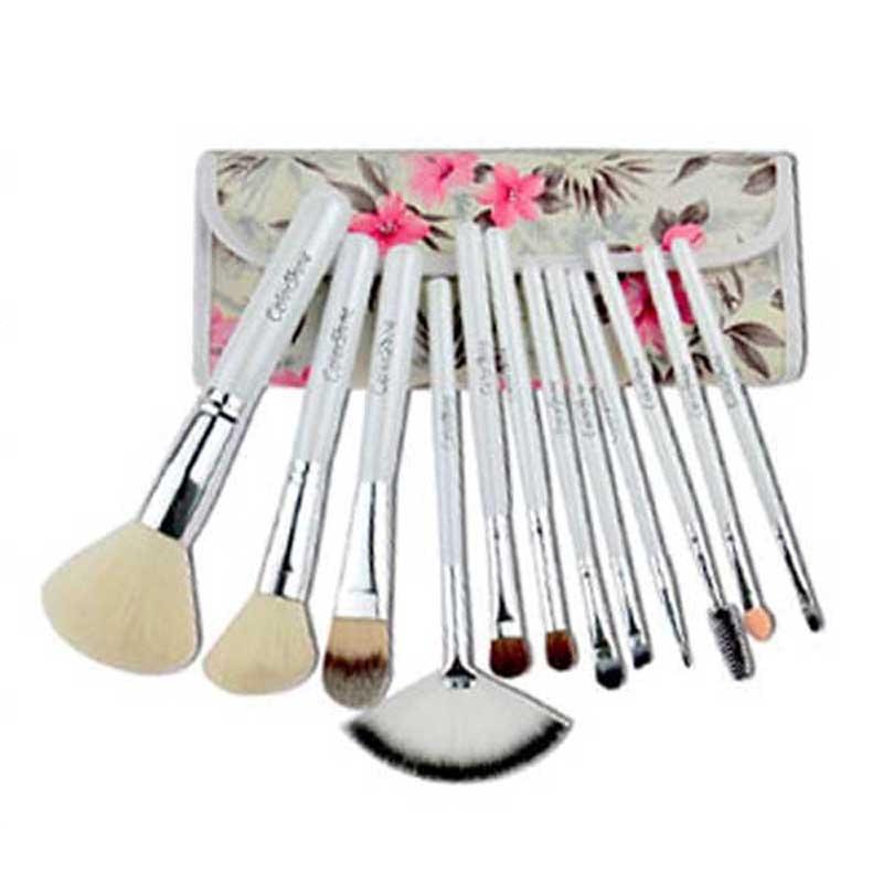 Free Shipping New 12PCS Professional Makeup Brush Set Cosmetic Brushes with Azalea Printing Case