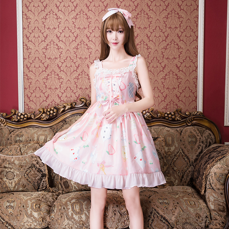 Księżniczka słodki lolita sukienka japoński sympatyczny zając sukienki letnie na co dzień studentka mody kiełków mały świeży sukienka kobiety ZJY132 w Suknie od Odzież damska na  Grupa 2