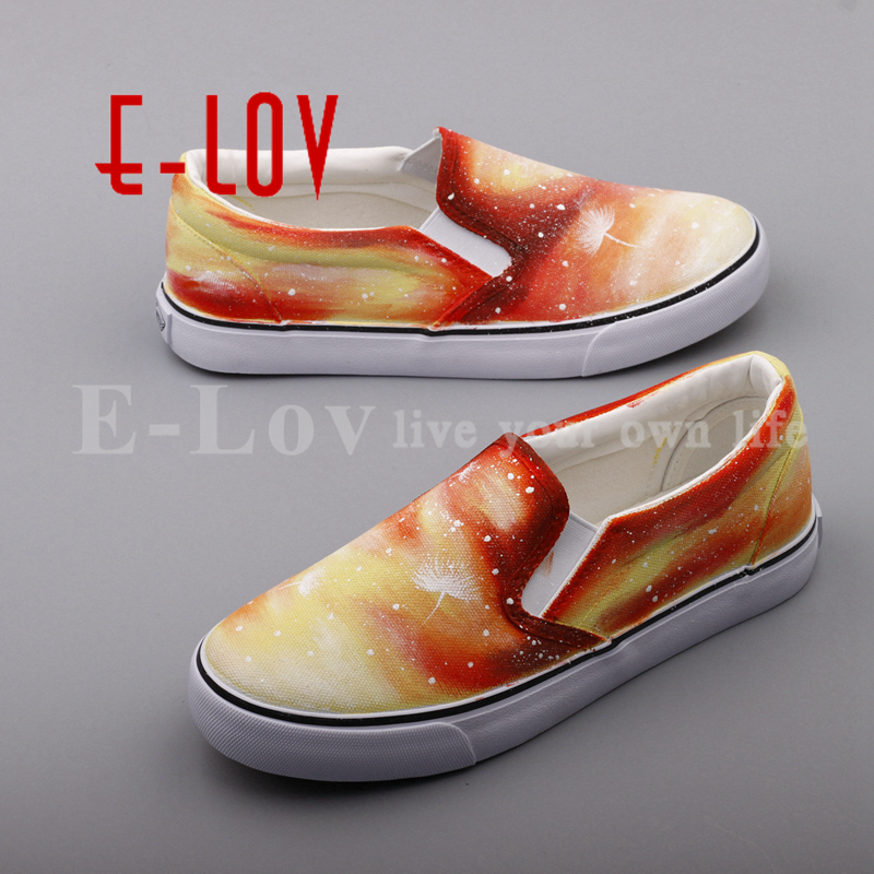 E-LOV Dream Graffiti Flat Canvas Loafers Shoes Women Hand Painted Yellow Slip On Espadrilles sapatilhas mulher e lov new arrival hand drawing women canvas shoes adults unisex flats casual shoe dream graffiti painted espadrilles