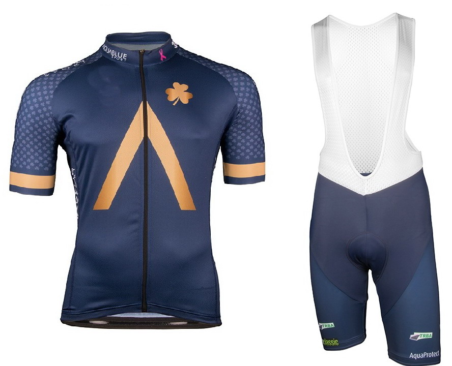 2018 Aqua Blue Men s Cycling Jersey Short Sleeve Bicycle Clothing With Bib Shorts Quick Dry