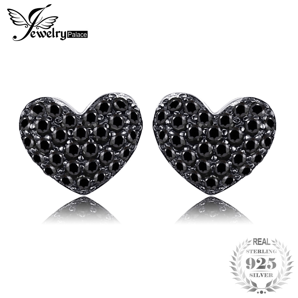 c35b7f3ad499 JewelryPalace Fashion Natural Black Spinel Love Heart Earrings For Women  Solid 925 Sterling Silver Stud Earrings Jewelry