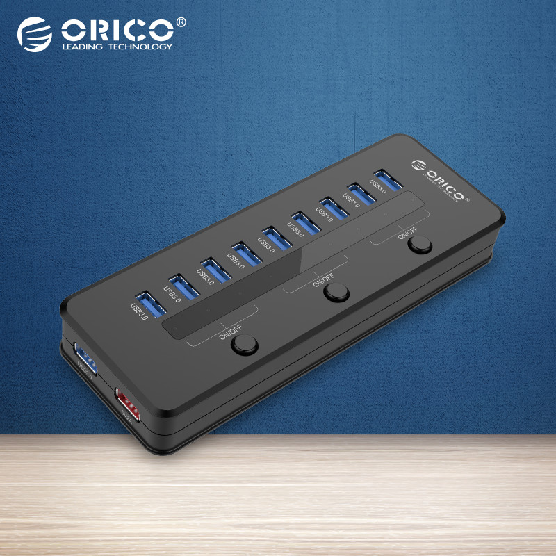 ORICO H10C1-U3-BK Super Speed USB 3.0 10 Port 5V2.1A Smart Charging HUB with 3 Switch and Power Adapter-Black