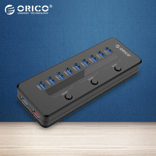 ORICO Super Speed USB 3.0 10 Port 5V2.1A Smart Charging HUB with 3 Switch with Power Adapter Black-(H10C1-U3)
