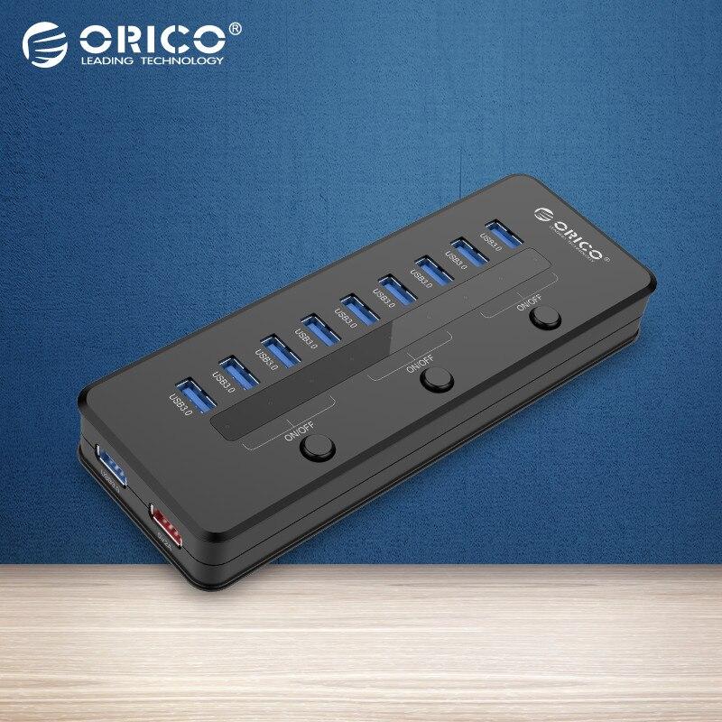Prix pour ORICO Super Speed USB 3.0 10 Port 5V2. 1A Smart HUB De Charge avec 3 Commutateur avec Puissance Adaptateur Noir-(H10C1-U3)