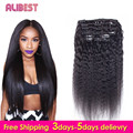 Kinky Straight Clip In Human Hair Extensions 7A Italian Coarse Yaki Human Hair Peruvian Hair Virgin Hair Clip In Extension