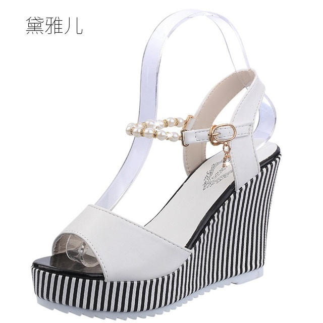 c9b6fe26d7d6 2018 Summer Style Fashion Beaded White Sexy Wedges High Heels Sandals for  Women s with Female Shoes Woman Ladies Black