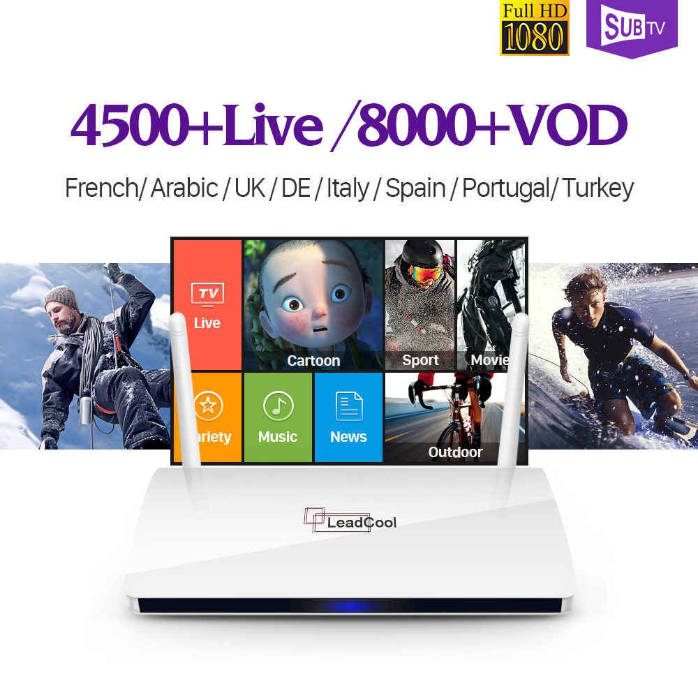 Leadcool Smart Android 6.0 TV Box IP TV 1 Year SUBTV IUDTV QHDTV Code IPTV Europe Italia Belgium French Arabic IPTV Box best french iptv dalletektv leadcool smart tv android iptv box europe swedish arabic 2500 channels 1 year iudtv iptv stb box