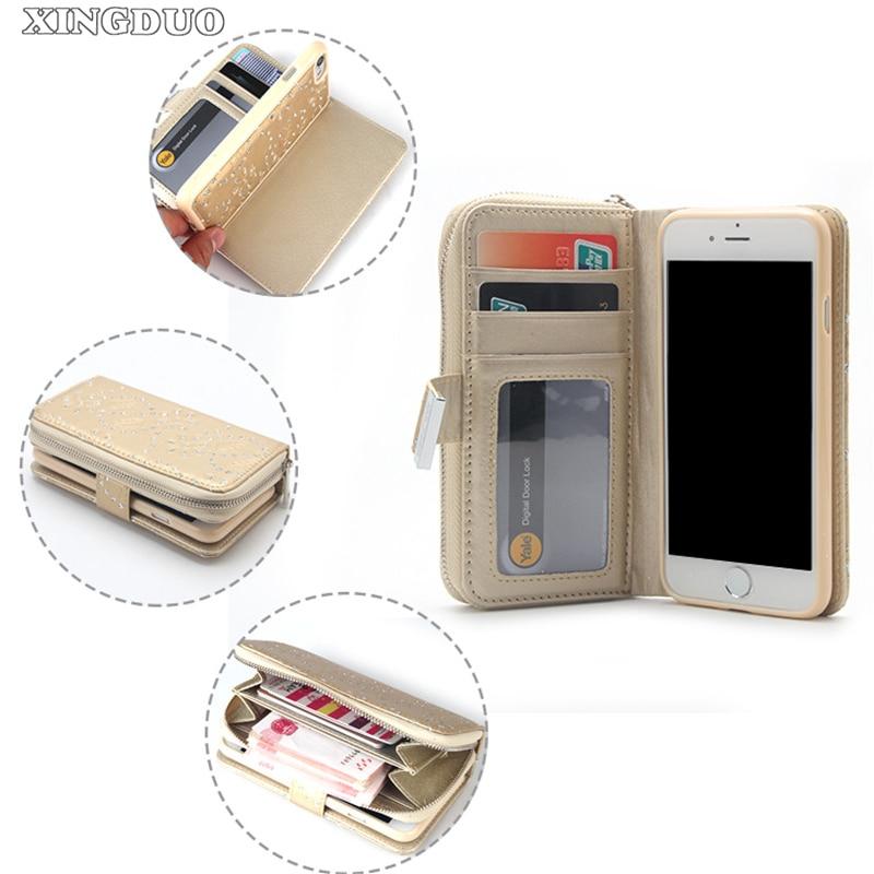Lyxig glitter blad magnetiska avtagbara spelautomater PU läder - Reservdelar och tillbehör för mobiltelefoner