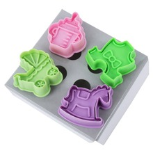 4Pcs DIY Tools Kitchen New Animal Car Cloth Shape Plastic Fondant Cake Mold Biscuit Cookie Plunger Cutters Sugarcraft Decor