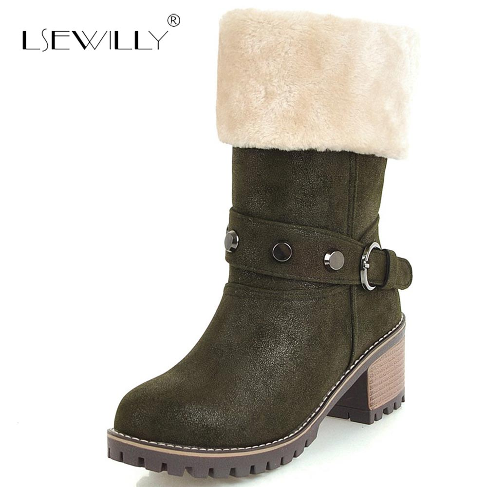 Lsewilly Brand Women s Winter Shoes Warm mid calf boots Women Boots Fur Snow Boots Female