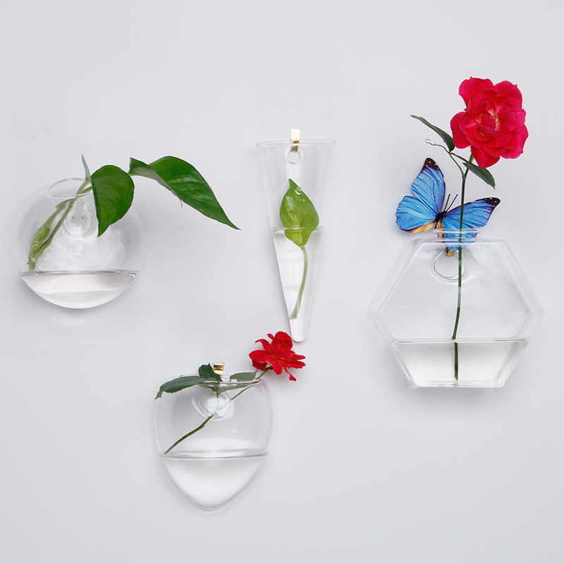 ... Wall hanging vase home decor clear glass vase hydroponic art design flower pots for sale wholesale ... & Detail Feedback Questions about Wall hanging vase home decor clear ...
