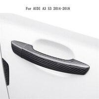 Car styling For Audi Carbon Fiber Auto Door Handle Knob Exterior Trim Covers for Audi A3 S3 2014 2015 2016 2017 2018