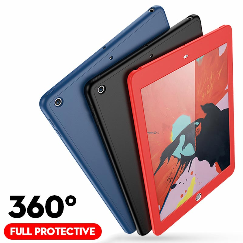360 Full Protective Case For New IPad 2018 2017 9.7 5th 6th Funda Ultra Slim With Glass Silicone Soft Cover For IPad Air 2 Case