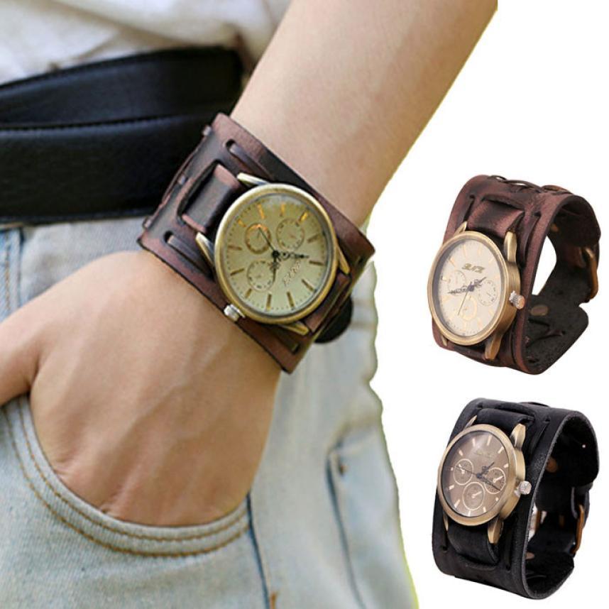 Gran venta nuevo Retro Punk Rock marrón gran pulsera de cuero ancho brazalete hombres reloj de pulsera de cuarzo relojes de pulsera reloj xfcs saat