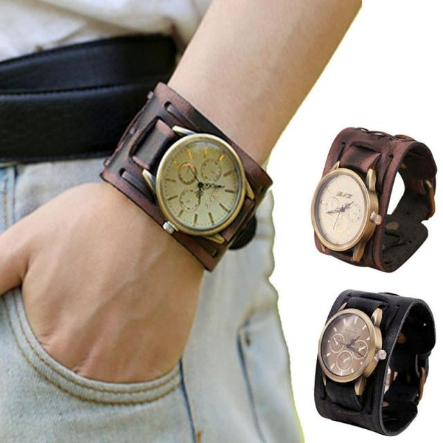Hot selling New Retro Punk Rock Brown Big Wide Leather Bracelet Cuff Men Watch q