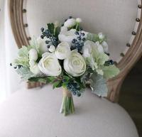 100% Hi Q fake white tea rose green plants foam Blueberry berry artificial flower wedding bouquet bridal bouquet bride's bouquet