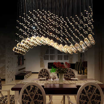 Modern Luxury LED K9 Crystal Chandeliers lights Restaurants Wave Crystal Chandeliers Lamp Creative Living Room Lighting