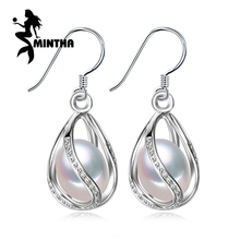 MINTHA Pearl earring long 925 Sterling Silver earrings wedding Birthday gift pearl Jewelry Women vintage stud