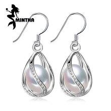 MINTHA Pearl earring,long 925 Sterling Silver earrings,wedding Birthday gift pearl Jewelry Women vintage stud earring for love