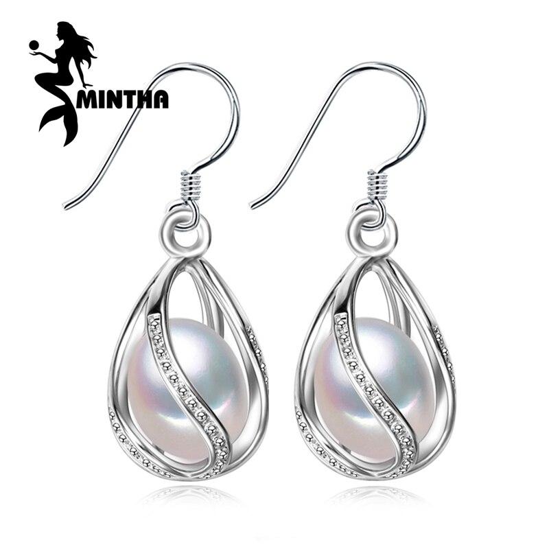 MINTHA perla, plata de Ley 925 pendientes de Plata, regalo de Cumpleaños de la b