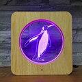 Пингвин Прекрасный 3D светодиодный деревянный зерна ночник своими руками  на заказ настольная лампа Дети День рождения цвета подарок домашн...
