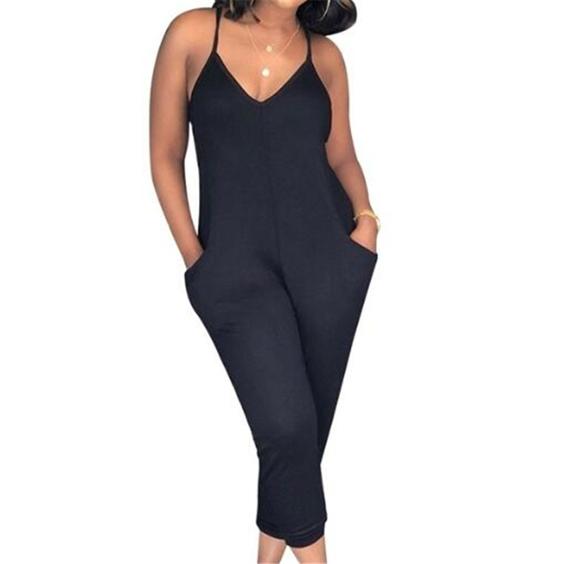 Women Solid Color   Jumpsuit   Female Sleeveless Bodysuits Fashion Loose   Jumpsuits   Pants Elegant Female Clothes