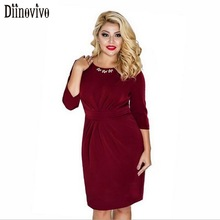 Big size L-6XL Women Elegant Bodycon Dresses 2017 New Arrival O-Neck 3/4 Sleeve Slim Work office Party Pencil Dress Vestidos 379