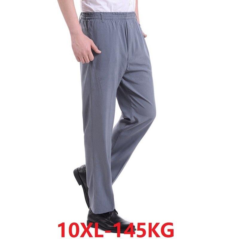 Men Cheap Suit Pants Black Big Size 7XL 8XL 9XL 10XL Summer Man Pants Loose Casual Home Pants Straight Trousers 52 54 56 58 60