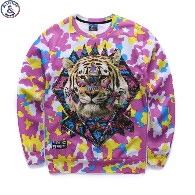 Mr.1991 newest listing youth 3D tiger head printed hoodies boys teens Spring Autumn thin sweatshirts big kids sweatshirts W11