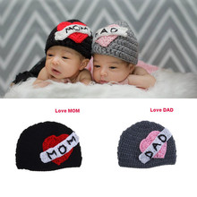 2015 New Newborn Photography Props Knitting Crochet Love Mom and Love Dad Baby Hat Infant Photo Costumes Sweet Heart Hat newborn photography props baby photo props crochet knitting baby bunny hat rabbit hats and diaper beanies and pants costumes set
