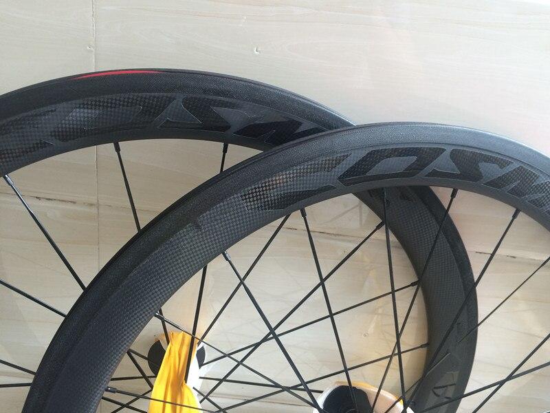 Carbon Ceramic 700c 60mm Carbon Clincher Road Bike Wheels, Powerway R13/R36/ Bitex Ceramic Hubs Pillar 1423 spoke Cycling
