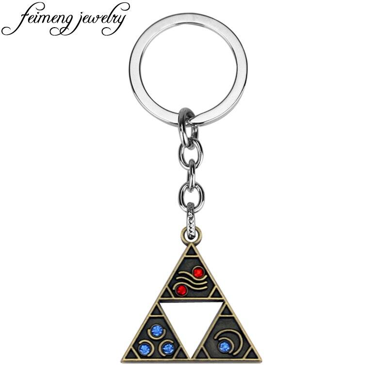 Anime Game The Legend of Zelda Keychain Power Triforce Logo Crystal Bead Pendant Keyring Fashion Car Key Chain For Key Holder